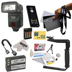 4 Rechargeable AA Batteries D5300 Home // Car Charger For Nikon D5000 Professional TTL Swivel Flash with a Complete Starter Kit D70 D7000 and More Models D70S Df D5500 D50 D5200 D40X D80 D5100 D40