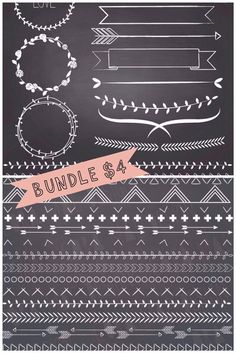 Bundle of chalkboard laurels, and borders. Includes chalkboard background…
