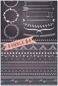 Bundle of chalkboard laurels, and borders. Includes chalkboard background. Instant PNG files. on Etsy, $4.00