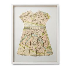 Original Paris Map Folded Dress - Tres chic handmade wall art for the nursery.
