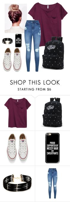 """""""Untitled #35"""" by rebekahmm ❤ liked on Polyvore featuring H&M, Vans, Converse, Casetify, Forever 21 and Lipsy"""