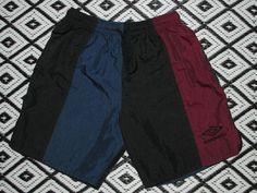 VTG 90`s UMBRO SHORTS Maroon Blue Black Made in USA Youth Medium #UMBRO #Everyday