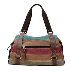 Ladies Soft Pastel Striped Canvas Handbag