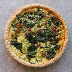 Quiche with kale and bacon.