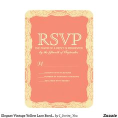Elegant Vintage Yellow Lace Border & Coral Pink 3.5x5 Paper Invitation Card