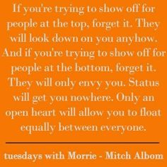 love and death in tuesdays with Tuesdays with morrie is better than your average tv-movie it has a serious message on tuesday's they talk about love,death,and many other things.