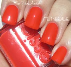 """'Bazooka"""" - Essie Poppy Razzi collection - neon collection - summer 2012 - supposed to be a red neon...stops short of neon. I never have seen a true red neon ever."""