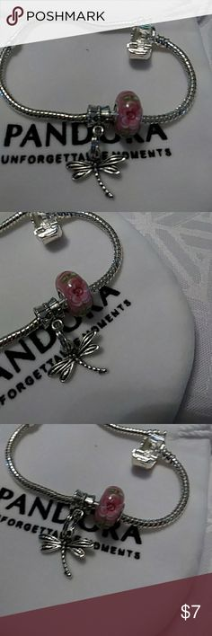Dragonfly Charm,Murano glass bead,Pandora pouch! Murano glass bead, dragonfly charm,Pandora pouch! (Charms and pouch only) Tibetan silver' quality charms. Nwotags European Jewelry Bracelets