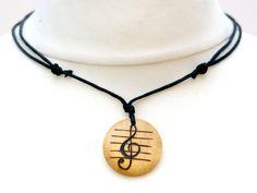 Treble Clef Necklace Pendant Music Gift Jewellery Rustic Wood Burned Unisex Choker