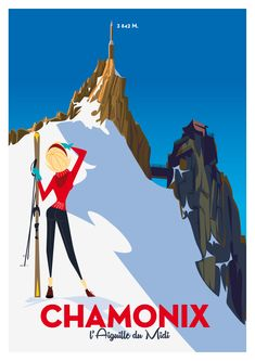 Chamonix ~ Monsieur Z. Ski Vintage, Vintage Ski Posters, Retro Poster, Look Vintage, Illustrations Vintage, Illustrations And Posters, Old Posters, Ski Decor, Wall Decor