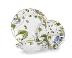 amazon.com | Cuisinart Ноэлия Коллекция 16-Piece фарфоровая столовая посуда Набор: Посуда Наборы