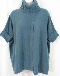 CYNTHIA ROWLEY Size M Blue Wool Blend Turtleneck Short Sleeve Poncho Sweater #CynthiaRowley #Poncho