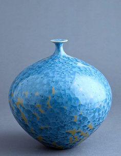 Hideaki Miyamura (Japanese-American: 1955) - Yellow crystalline glazed porcelain