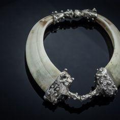 Bracelet with boar fangs. #boarfangs       Vienetinė išskirtinio dizaino apyrankė su iltimis, dekoruota sidabru. Šis unikalus papuošalas patrauks kiekvieno akį dėl savo unikalios formos ir tekstūros.