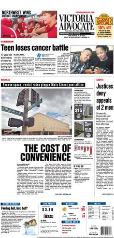 Here is the front page of the Victoria Advocate for Wednesday, July 10, 2013. To subscribe to the award-winning Victoria Advocate, please call 361-574-1200 locally or toll-free at 1-800-365-5779. Or you can pick up a copy at one of the numerous locations around the Crossroads region.