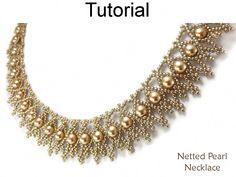 Jewelry Making Beading Patterns - Beaded Bracelet Tutorials - Netting Stitch - Simple Bead Patterns - Netted Pearl Bracelet Pearl Jewelry, Beaded Jewelry, Handmade Jewelry, Beaded Bead, Diy Jewelry, Pearl Necklaces, Handmade Beads, Beaded Bracelets, Beaded Earrings