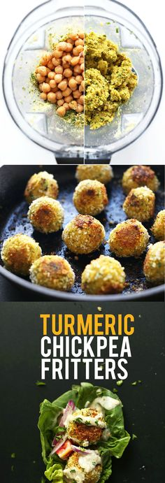 AMAZING 30 Minute TURMERIC Chickpea Fritters! Little falafel-like pillows of bliss // SO flavorful!                                                                                                                                                      More