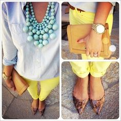 Yellow jeans, light chambray shirt, and teal statement necklace