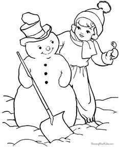 Printable Kids Christmas snowman coloring pages!