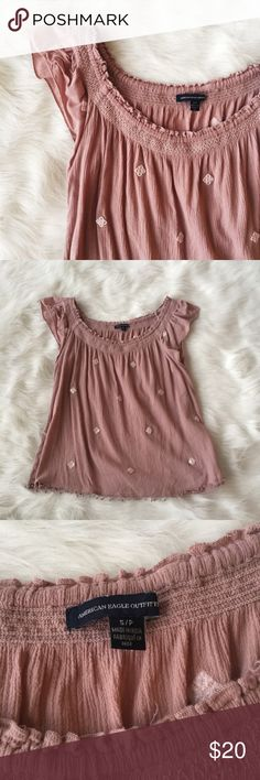 AEO Dusty Rose Flutter Sleeve Top EUC. No noticeable flaws. American Eagle Outfitters Tops Blouses