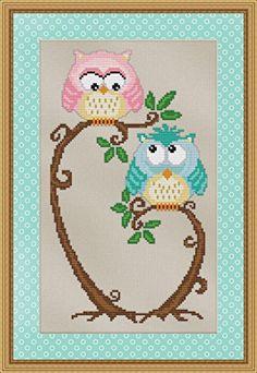 Love at First Sight Cross Stitch Pattern - Cute Hoot Owl Design StitchX Cross Stitch http://www.amazon.com/dp/B00Q3MU0RM/ref=cm_sw_r_pi_dp_wXeYwb1K3TGR2