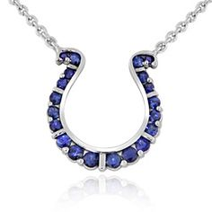 Reis-Nichols Jewelers : Go Blue Small Sapphire Horseshoe Necklace
