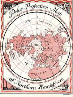 Polar Projection Map, Northern  Hemisphere