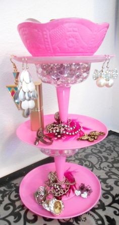 3 tiered jewelry holder: This is a stand I made using cups, plates, and bowls I bought from the dollar store.