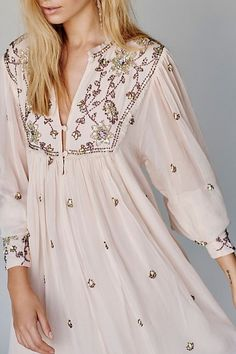 Bali Golden Sun Dress - Sheer Blush Long Sleeve Mini Dress with Crystal and Beaded Embroidery Details - Feminine Dresses - Party Dresses - Holiday Dresses - Special Occasion Dresses Boho Fashion, Fashion Dresses, Fashion Looks, Womens Fashion, Ladies Fashion, Fashion 2017, Fashion Brands, Feminine Dress, Feminine Style