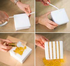 DIY opakowanie prezentów z brokatem