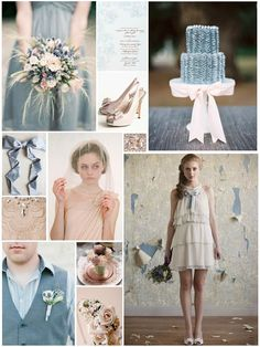 Spring - Blush & Dusky Blue Wedding Inspiration Board