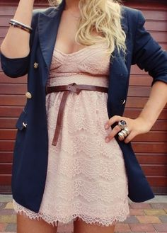 Pink lace dress, blue blazer.
