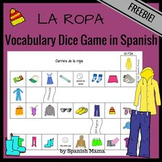 Printable Clothing Vocabulary Dice Game for learning la ropa in Spanish. Free download!