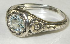 Aquamarine Victorian Style Floral Filigree Ring