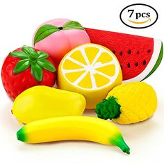 "Jumbo Squishies FLY2SKY Slow Rising 7 Pcs Fruit Squishies 7"" Watermelon 7"" Banana Strawberry Peach Pineapple Mango Lemon Food Squishies Kawaii Soft Squishies Toys for Kids/ Adults Giant"