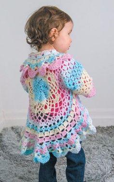 Circular Crochet Jacket Toddler Lots of free crochet patterns! Crochet Jacket, Crochet Cardigan, Knit Crochet, Crochet Granny, Crochet Toddler Sweater, Crochet Baby Cardigan Free Pattern, Crochet Circle Vest, Toddler Cardigan, Toddler Vest