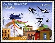 切手: March (ギリシャ) (The twelve months in folk art) Mi:GR 2711 What A Country, Stamp World, Barn Swallow, Old Stamps, Postage Stamp Art, Ms Gs, Mail Art, Stamp Collecting, Craft Work