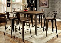 Furniture of America Cadiz 7Piece Industrial Pub Dining Set *** To view further for this item, visit the image link.Note:It is affiliate link to Amazon.