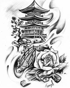 Japanisches Motiv Japan Haus Tempel Tattoo Design Grafik - Kittens Tutorial and Ideas Geisha Tattoo Design, Japan Tattoo Design, Buddha Tattoo Design, Geisha Tattoos, Tattoo Design Drawings, Tattoo Sleeve Designs, Tattoo Sketches, Japan Design, Japanese Temple Tattoo