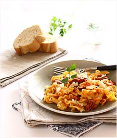 pasta with chorizo, bacon, and goat cheese. ohmyyes.