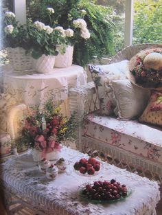 <3 Wicker and room dressed so pretty, love the white geraniums  (1) From: Victoria A Return To Loveliness, please visit
