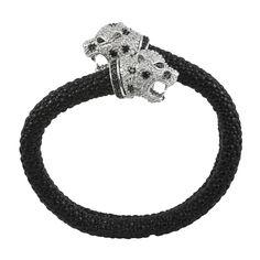 Kenneth Jay Lane CZ Flexi Black Leopard Bangle   SOPHIESCLOSET.COM   Designer Jewelry & Accessories