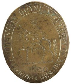 BANDON BOYNE YEOMANRY, IRISH VOLUNTEERS, CO. CORK, LATE 18TH CENTURY SHOULDER BELT PLATE.   Oval, cast brass, engraved with equestrian portrait of William of Orange at centre, the date ''1690'' below, legend ''Bandon Boyne Yeomanry - Glorious Memory'' around, two hooks and twin studs to reverse, 6.5'' x 3.25'' (8.5cm x 6.5cm) vertical overall approx., circa 1780.