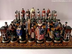 American War of Independence Hand Painted Theme Chess Set