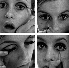 Twiggy, giving a 4 step guide on how to apply eye make-up and fake eyelashes on. Twiggy, giving a Beauty Makeup, Hair Makeup, Hair Beauty, 1960s Make Up, Makeup Trends, Hair Trends, Makeup Ideas, Twiggy Makeup, Twiggy Hair
