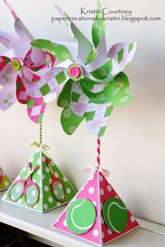 Paper Creations by Kristin: Tennis Themed Pinwheel Centerpieces