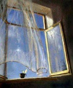 Breeze through an open window Open Window, Window Art, Window Sill, Art Et Illustration, Illustrations, Blowin' In The Wind, Oeuvre D'art, Impressionist, Art Inspo