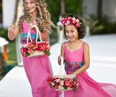 How cute are these two flower girls! Love their flower crown and pink dress! Matt Blum Photography
