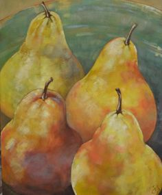 Bowl of pears: oil on canvas, by Susan Slump Venter Fruit Art, Pears, Oil On Canvas, Aqua, My Arts, Water, Pear