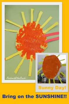 SUNSHINE paintings! From round-up article of all manner of 'beach' ideas, crafts, bulletin boards + inspiration. (Part of blog hop on beach-ideas)